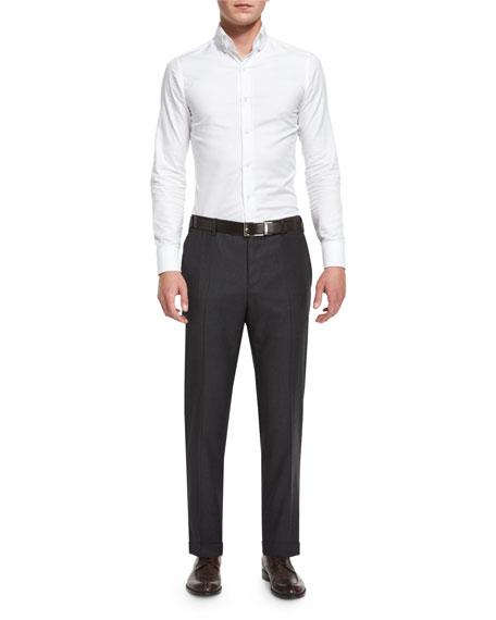 Parker Flat-Front Super 130s Flannel Trousers