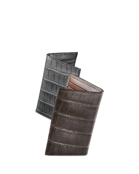 Neiman Marcus Alligator Bi-Fold Card Holder