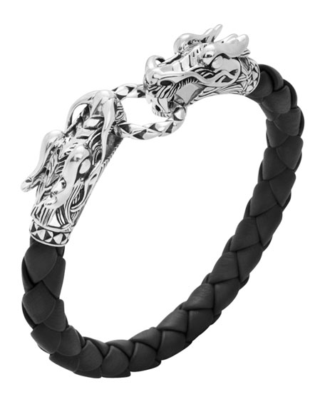 John Hardy Men's Legends Naga Leather Dragon Bracelet