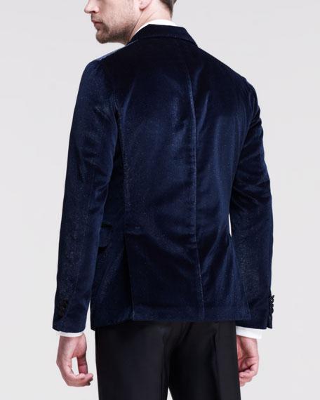 Napoli Glitter-Velvet Tuxedo Jacket, Blue
