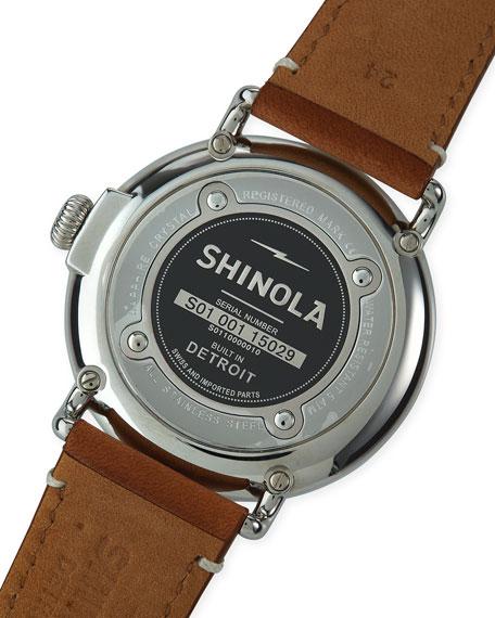 47mm Runwell Men's Watch, White/Brown