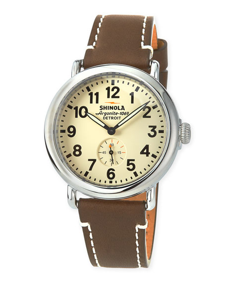 Shinola 47mm Runwell Men's Watch, White/Brown