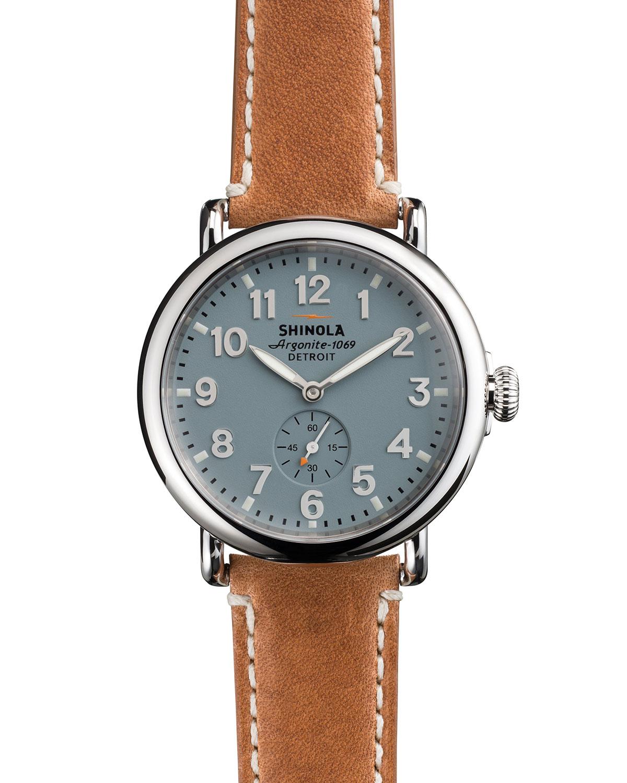 fa06d6b89 Shinola Men's 41mm Runwell Men's Watch, Light Blue   Neiman Marcus