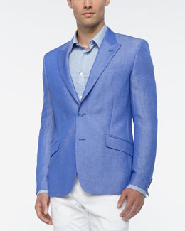 Versace Collection Linen Blend Sport Coat, Blue