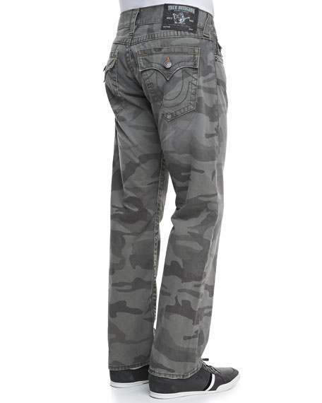 Ricky Deringer Camo-Print Jeans, Dusty Olive