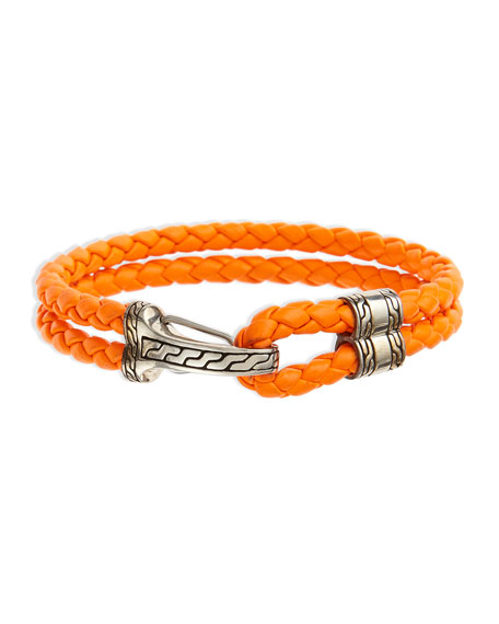 John Hardy Classic Chain Men's Hook-Station Bracelet, Orange