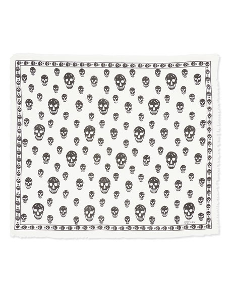 Alexander McQueen Men's Skull-Print Shawl, Black/Ivory