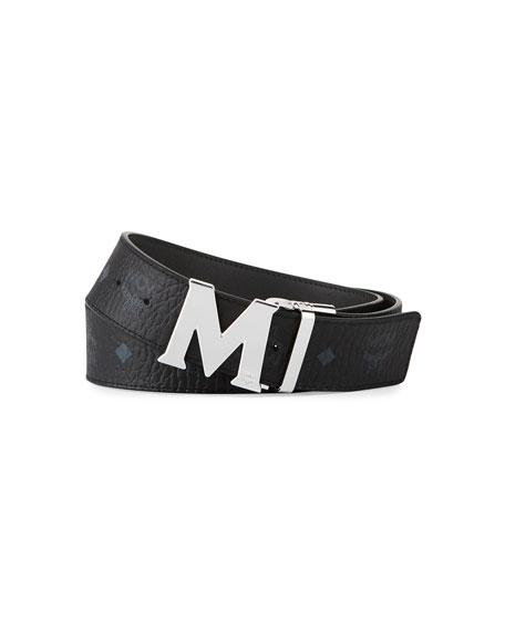 MCM M-Buckle Monogram Belt, Black