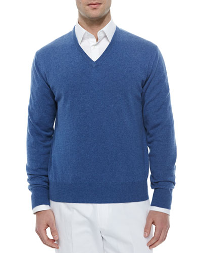 Baby Cashmere V-Neck Sweater, Denim Blue
