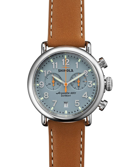 Shinola 41mm Runwell Chrono Watch, Light Brown/Gray