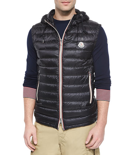 Naples Quilted Hooded Vest, Black