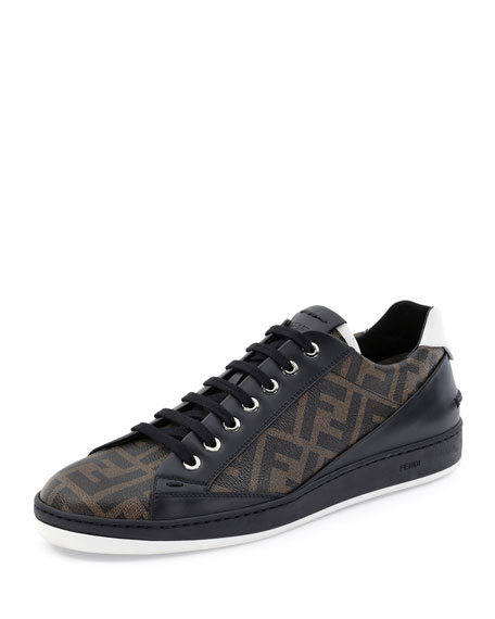 Fendi Zucca Low-Top Leather Sneaker, Brown/Black