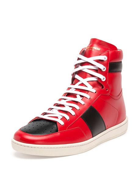 Saint Laurent Contrast-Stripe High-Top Sneaker