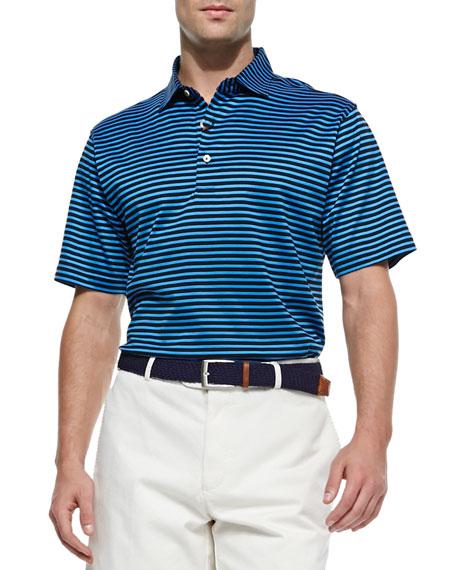 Peter Millar Lisle Striped Short Sleeve Polo Black Blue