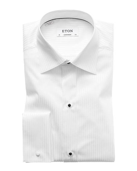 Contemporary-Fit Tonal Satin Striped Formal Shirt