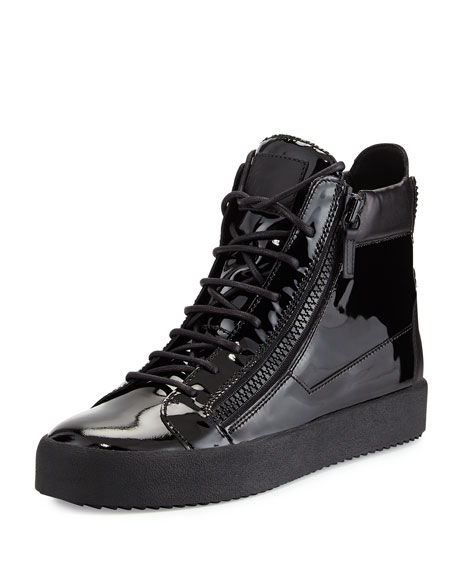 Giuseppe Zanotti Men's Patent Leather High-Top Sneaker