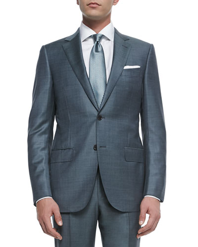 Trofeo Wool Sharkskin Suit, Slate Gray