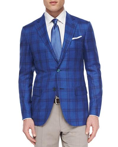 Woven Cashmere-Blend Plaid Blazer