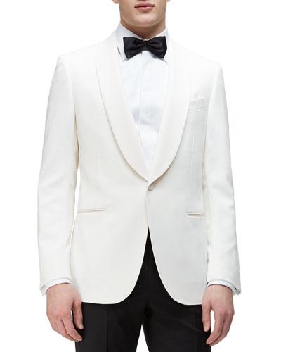 Shawl-Collar Satin Evening Jacket, Ivory