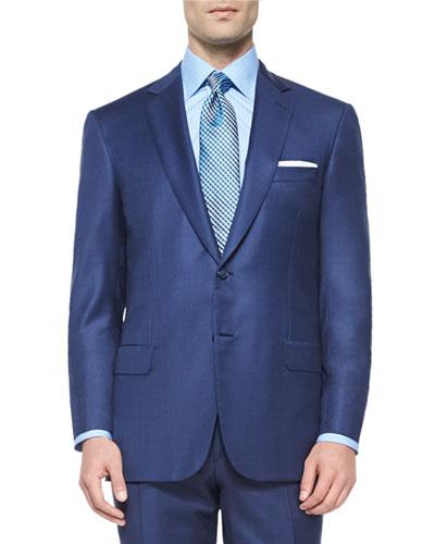 Super 150s Micro-Check Two-Piece Suit, Blue