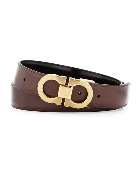 Men's Reversible Leather Belt Boxed Gift Set, Black/Brown