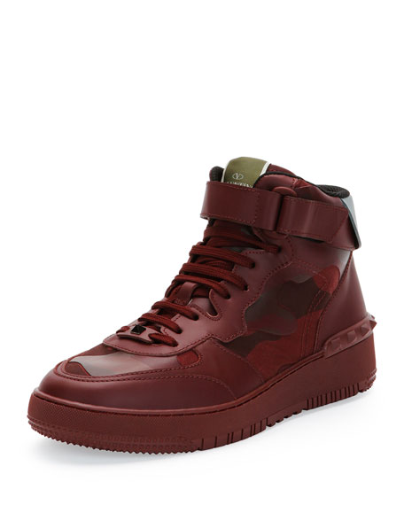 Valentino Rock Be Camo High-Top Sneaker, Burgundy
