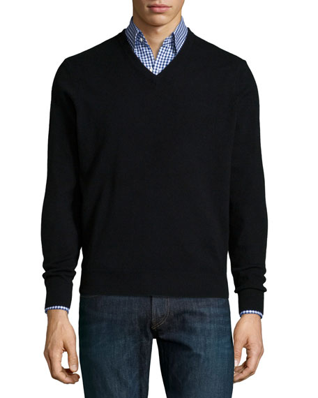 Neiman Marcus Cashmere V-Neck Sweater, Black