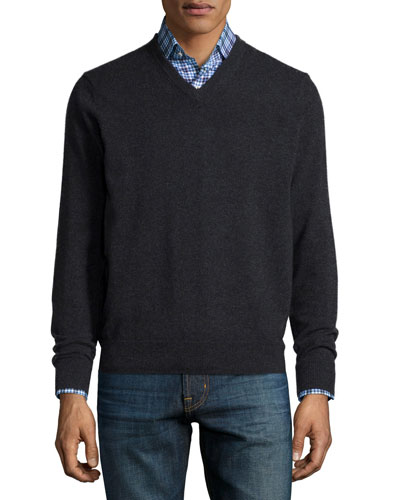 Cashmere V-Neck Sweater, Charcoal