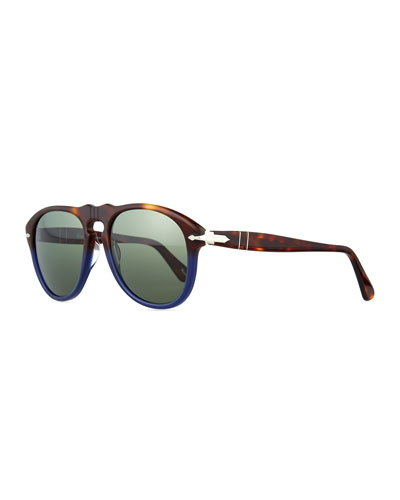 649-Series Acetate Sunglasses, Tortoise/Blue