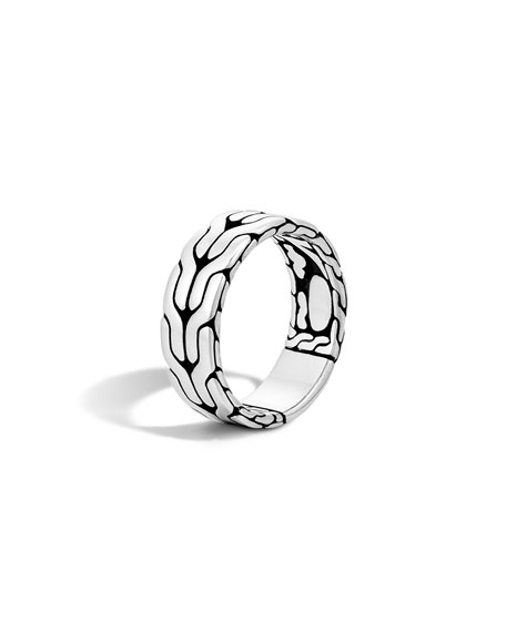 John Hardy Men's Silver Woven Chain Ring, Size 10