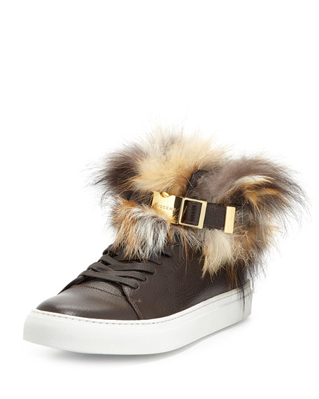 Buscemi100mm High-Top Sneaker with Fur Collar, Chocolate