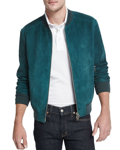 Lightweight Suede Bomber Jacket, Teal