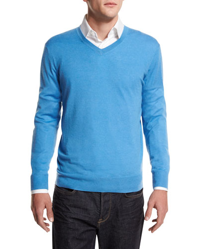 Cashmere-Silk V-Neck Sweater, Sky Blue