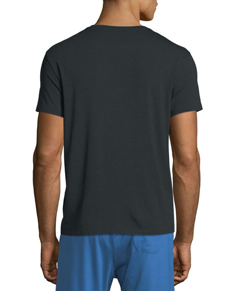 Derek Rose Crewneck Short-Sleeve Knit Tee, Anthracite