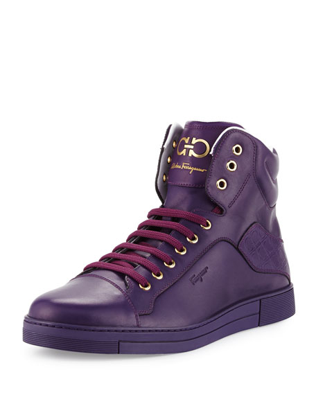 Salvatore Ferragamo Stephen 2 Calfskin High-Top Sneaker, Purple