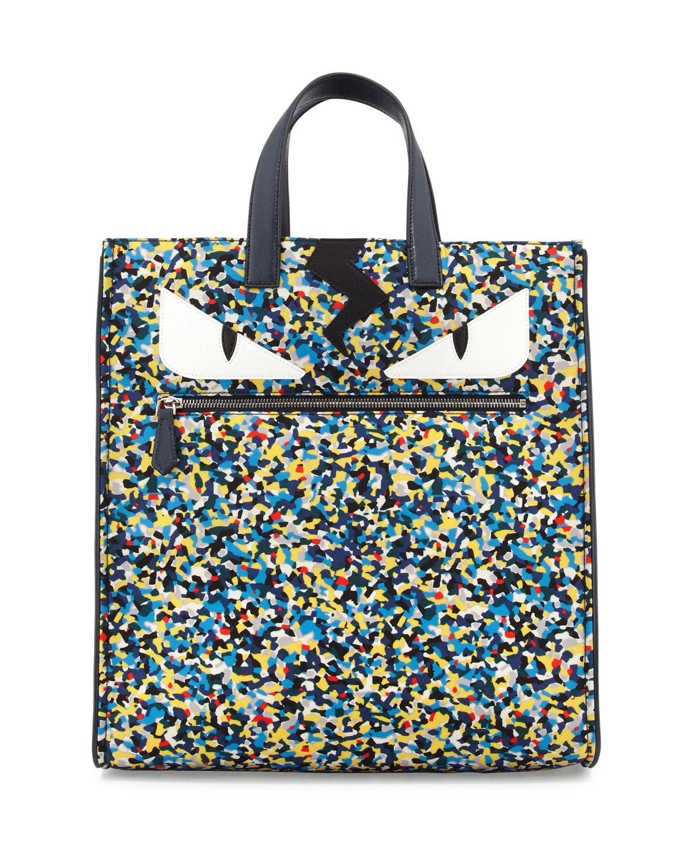 d83a3dff0ca5 Fendi Monster Eyes Confetti-Print Nylon Tote Bag