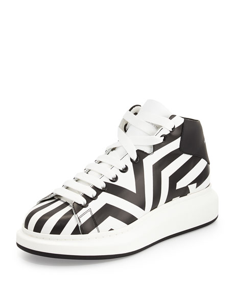 Alexander McQueen Stripe-Print Leather High-Top Sneaker, Black/White