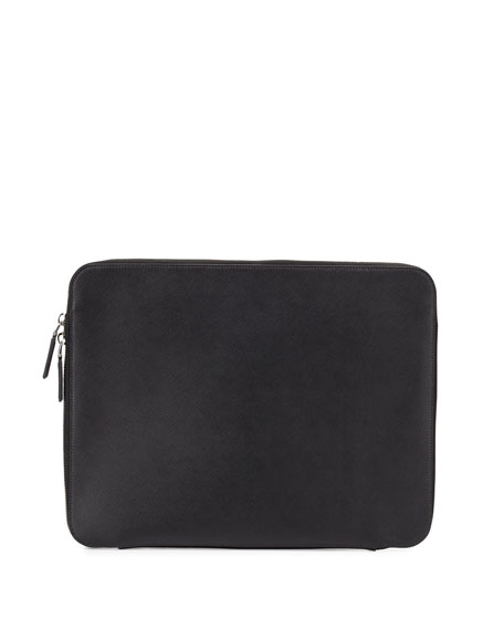 Prada Zip-Around Leather Portfolio Case, Black