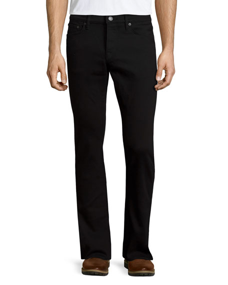 Burberry Five-Pocket Straight-Leg Denim Jeans, Black