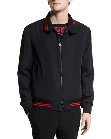 Lanvin Zip-Up Bomber Jacket with Striped Trim, Black