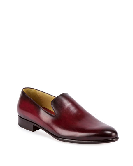 Berluti Leather Slip-On Dress Shoe, Red