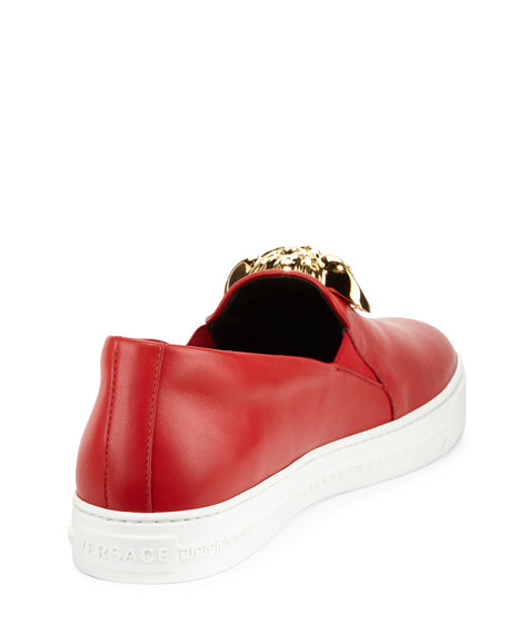 Leather Slip-On Sneaker with Gold Medusa Head, Red