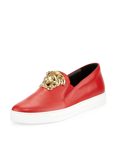 Versace Leather Slip-On Sneaker with Gold Medusa Head,
