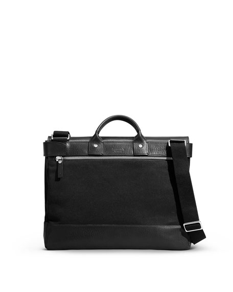 Leather/Canvas Flap-Top Messenger Bag