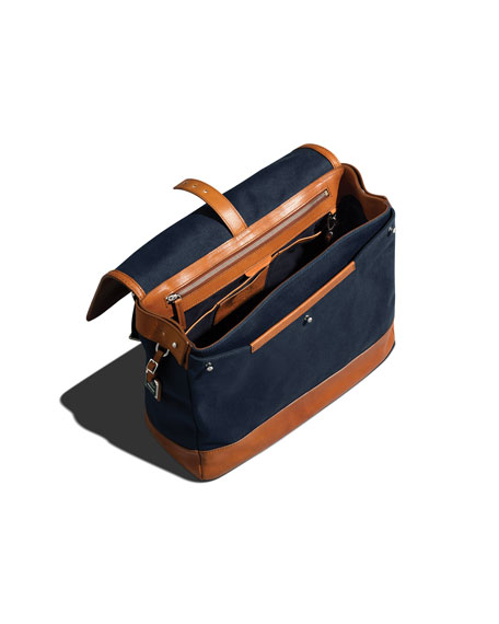 Leather/Canvas Flap-Top Messenger Bag