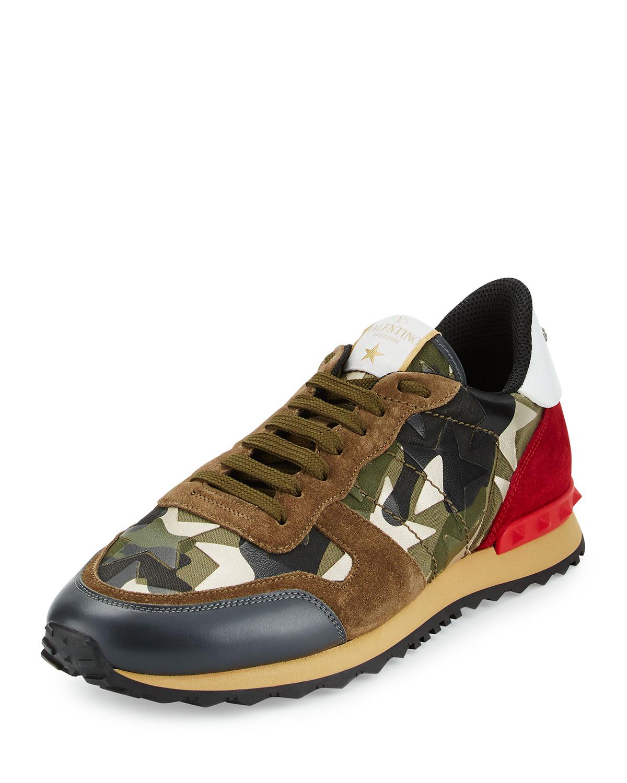 2c08a51642414e Valentino Rockrunner Camo Star-Print Sneaker