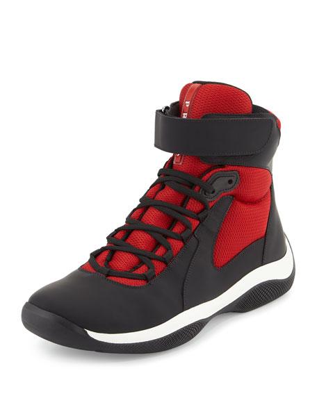 PradaAmerica's Cup Men's High-Top Sneaker, Black/Red