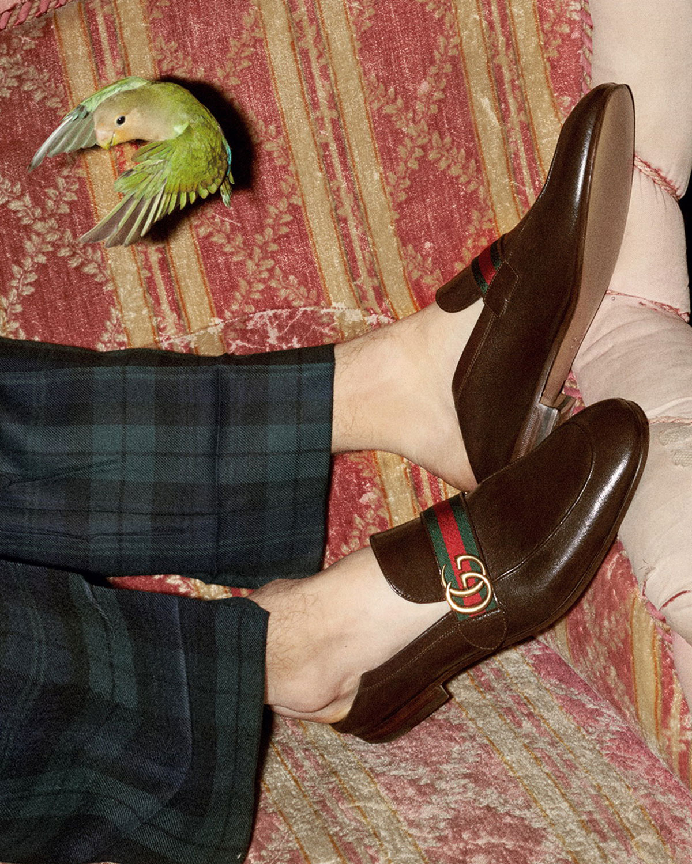 8adfffb8fb4c1 Gucci Donnie Web Leather Loafer   Neiman Marcus