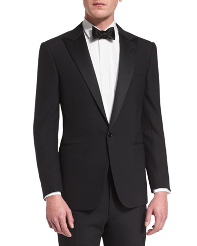 Anthony Peak-Lapel One-Button Wool Tuxedo, Black