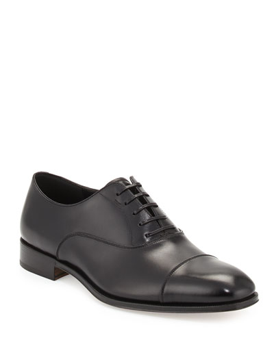 Men's Calfskin Cap-Toe Oxford, Black